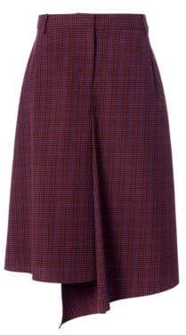 Tibi Check Drape Midi Skirt