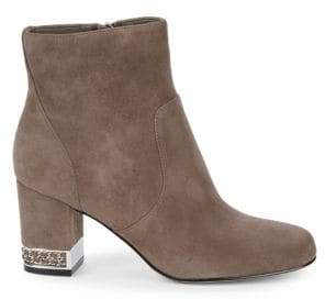 Sophia Suede Block Heel Booties