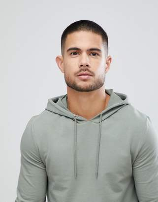 Asos DESIGN Muscle Longline Hoodie With Side Zips & Curved Hem In Green