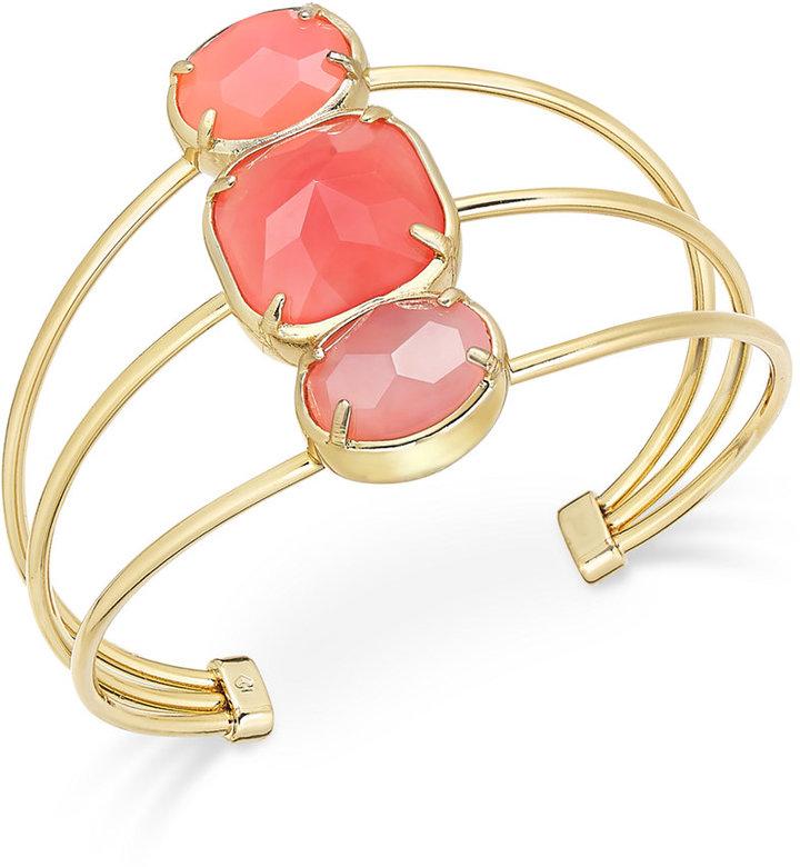 Kate Spadekate spade new york Sun-Kissed Sparkle Gold-Tone Pink Stone Trio Cuff Bracelet