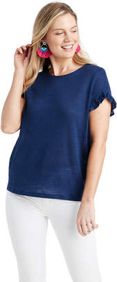 Vineyard Vines Short-Sleeve Linen Ruffle Tee