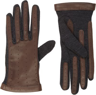 Lanvin Perforated Lambskin & Wool Combo Gloves