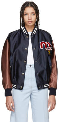 Miu Miu Navy and Burgundy Varisty Bomber Jacket