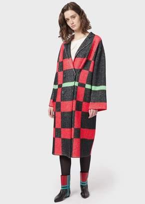 Emporio Armani Double-Breasted Boiled Wool, Tartan Jacquard Coat