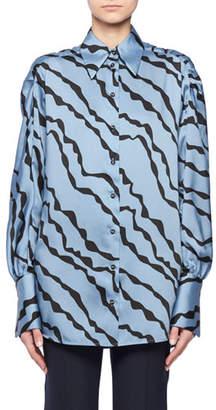 Victoria Beckham Victoria Abstract Animal-Print Shirred-Shoulder Long-Sleeve Shirt