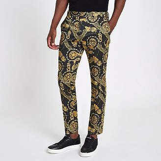 River Island Black leopard printed skinny smart pants