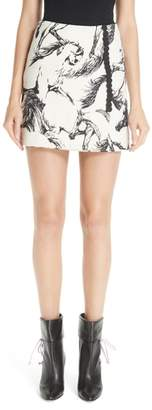 ADAM by Adam Lippes Horse Print Faux Wrap Miniskirt