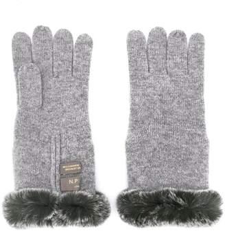 N.Peal fur trim gloves