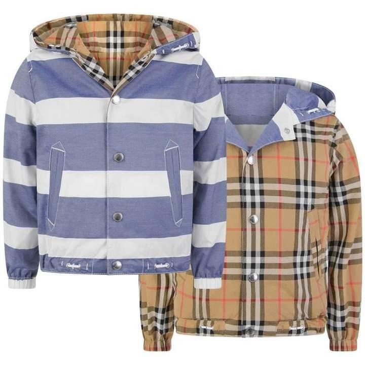 BurberryBoys Stripe & Check Reversible Mayer Jacket