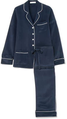 Olivia von Halle - Coco Silk-marocain Pajama Set - Navy