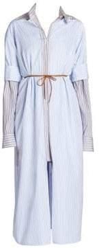 Marni Women's Long Sleeve Cotton Stripe Double Layer Dress - Illusion Blue - Size 46 (10)