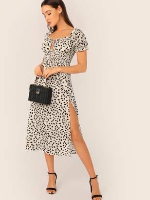 Shein Tie Neck Shirred Waist Split Thigh Dalmatian Dress