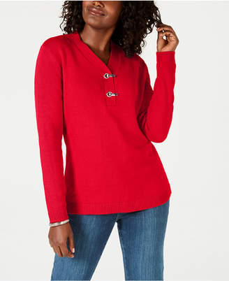 Karen Scott Petite Cotton Henley Sweater