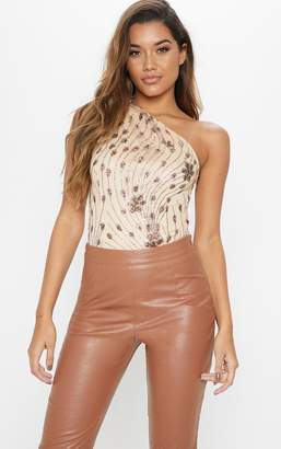 PrettyLittleThing Rose Gold One Shoulder Embellished Bodysuit