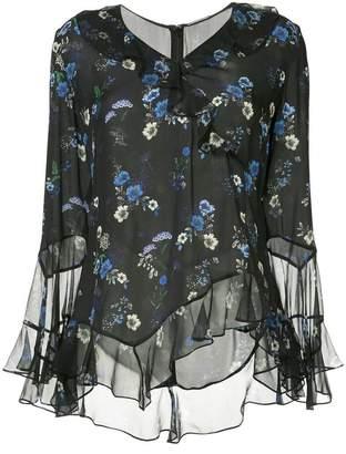 Elie Tahari asymmetric floral print blouse