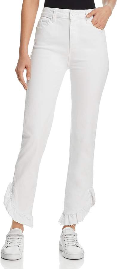 Hoxton Straight Ruffle-Detail Ankle Jeans in Crisp White