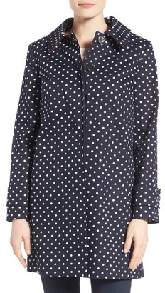 Women's Charles Gray London Contrast Collar Detail Polka Dot Coat $248 thestylecure.com