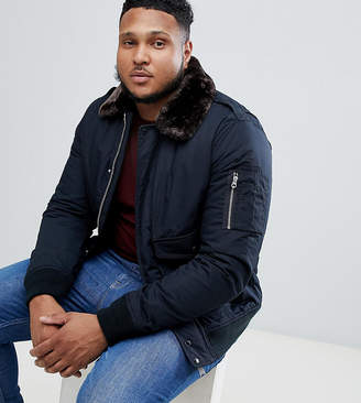 Schott Air bomber jacket with detachable faux fur collar in navy and brown