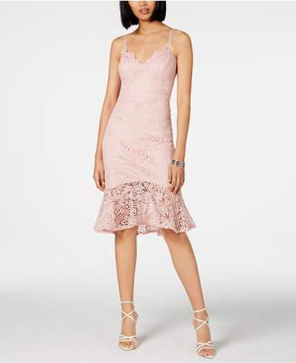 GUESS Lace Flounce-Hem Sheath Dress