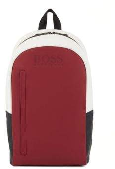 BOSS Hugo Colorblock backpack in rubberized fabric One Size Red