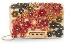 Zac Posen earthette Leather Floral Applique Crossbody Bag