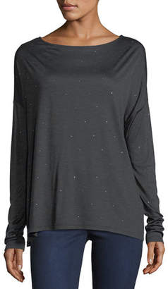 Neiman Marcus Majestic Paris for Crystal-Trimmed Long-Sleeve Boatneck T-Shirt