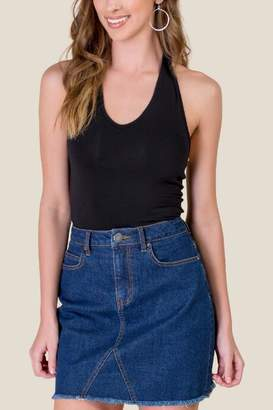 francesca's Emerson Jersey Knit Halter Top - Black