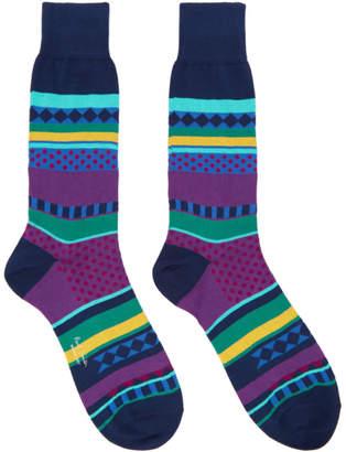 Paul Smith Navy Fairisle Jacquard Socks