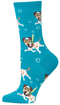 Hot Sox Womens Snorkelling Dogs Crew Sock