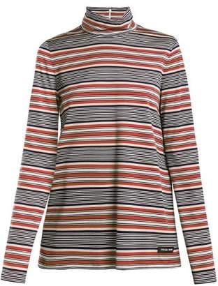 Prada Baiade Striped Cotton Top - Womens - Red