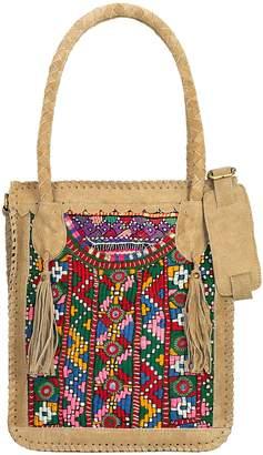 Vintage Addiction Tan Suede and Vintage Fabric Shoulder Bag