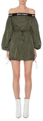 Palm Angels Balloon-Sleeve Off-Shoulder Logo Short Dress