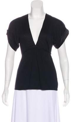 Brunello Cucinelli Tie-Accented Short Sleeve Top
