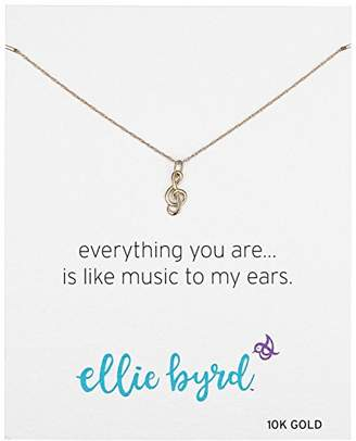 ellie byrd 10k Gold Musical Note Treble Clef Pendant Necklace