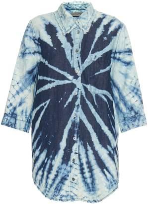 Raquel Allegra Tie-dye cotton and linen-blend shirt