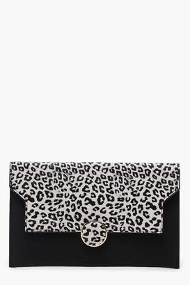 boohoo Colour Pop Leopard Flap Clutch