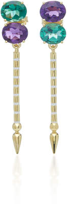 Sarah Hendler Shirley 18K Yellow Gold Amethyst and Green Quartz Earrings