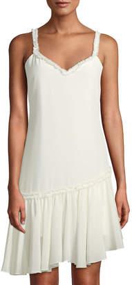 Cinq à Sept Castiel Silk Ruffle-Trimmed Asymmetric Dress
