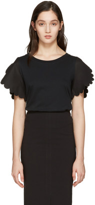 See by Chloé Black Scallop T-Shirt $195 thestylecure.com