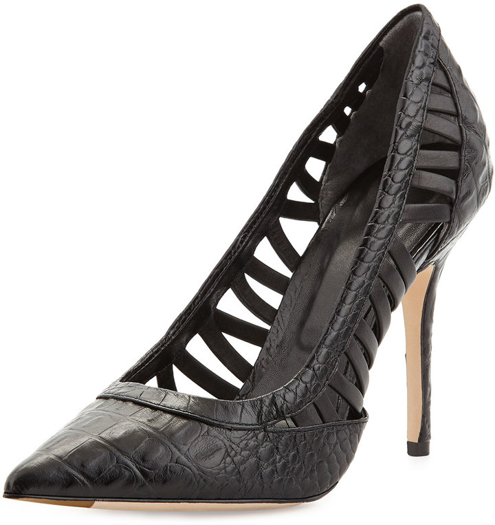 Rachel Roy Arya Croc-Embossed Leather Pointy-Toe Pump, Cadmium