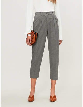 Claudie Pierlot Perle high-waisted straight woven trousers
