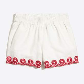"J.Crew Factory Embroidered 4"" pull-on short"