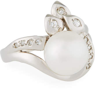 Belpearl 14k White Gold Diamond Leaf & Pearl Ring, Size 6