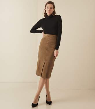 Reiss AVA SUEDE PENCIL SKIRT Tan