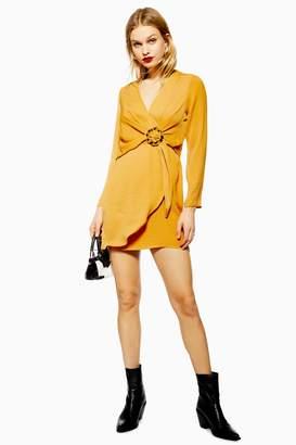 Topshop Womens Horn Ring Mini Dress - Ochre
