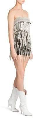 ATTICO Strapless Pearl-Embellished Mini Dress