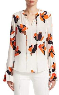Akris Punto Floral-Print Ruched Drawstring Silk Blouse