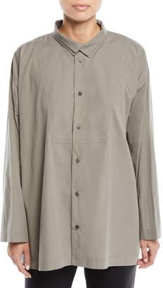 eskandar Long-Sleeve Two-Collar Slim A-Line Shirt