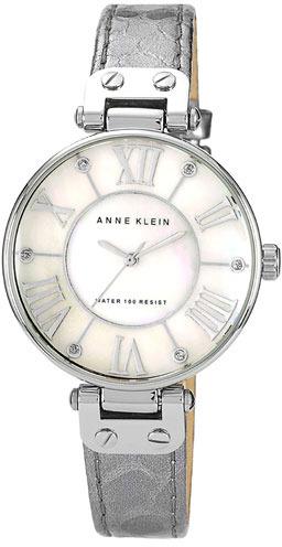 AK Anne Klein Anne Klein Round Leather Strap Watch, 34mm