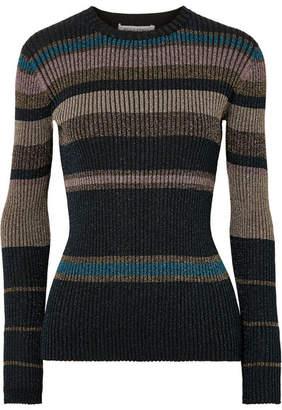 Bella Freud Joan Didion Striped Metallic Ribbed-knit Sweater - Black